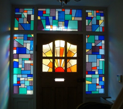 6a STAINED GLASS ENTRANCE A LA MONDRIAN WITH SUNBURST(1)
