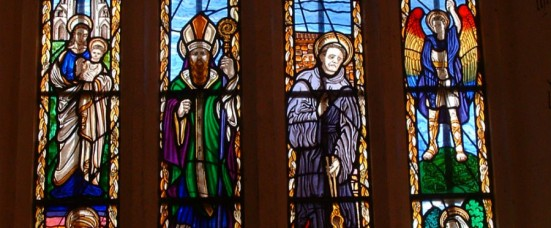 GLASTONBURY SAINTS WINDOW - ST PATRICK'S CHAPEL GLASTONBURY ABBEY(1)