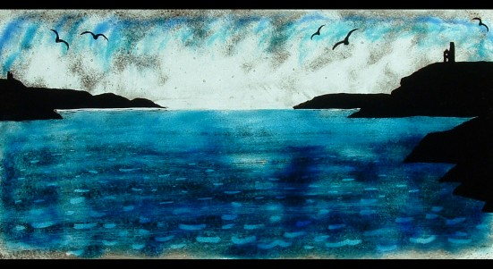 PAINTED FUSED GLASS SEASCAPE